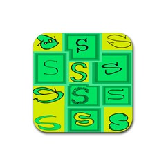 Letter Huruf S Sign Green Yellow Rubber Coaster (square)