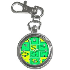 Letter Huruf S Sign Green Yellow Key Chain Watches
