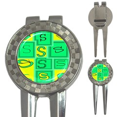Letter Huruf S Sign Green Yellow 3 In 1 Golf Divots