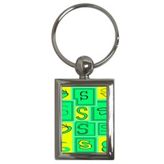 Letter Huruf S Sign Green Yellow Key Chains (rectangle)