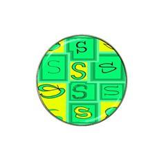 Letter Huruf S Sign Green Yellow Hat Clip Ball Marker (4 Pack)