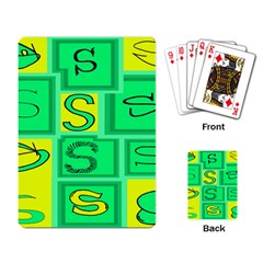 Letter Huruf S Sign Green Yellow Playing Card
