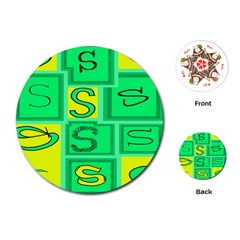 Letter Huruf S Sign Green Yellow Playing Cards (round)