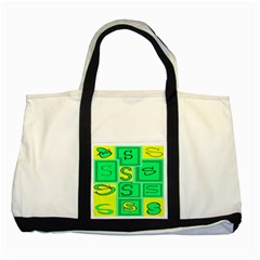 Letter Huruf S Sign Green Yellow Two Tone Tote Bag