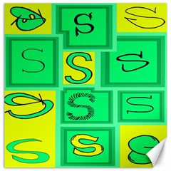 Letter Huruf S Sign Green Yellow Canvas 12  X 12