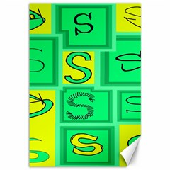 Letter Huruf S Sign Green Yellow Canvas 12  X 18