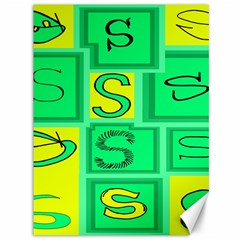 Letter Huruf S Sign Green Yellow Canvas 36  X 48