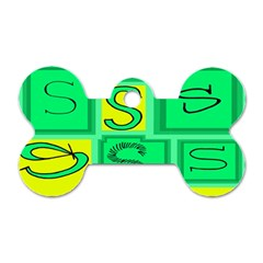 Letter Huruf S Sign Green Yellow Dog Tag Bone (one Side)