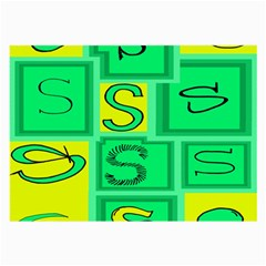 Letter Huruf S Sign Green Yellow Large Glasses Cloth (2 Side)
