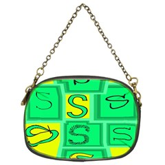 Letter Huruf S Sign Green Yellow Chain Purses (two Sides)