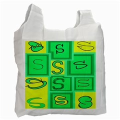 Letter Huruf S Sign Green Yellow Recycle Bag (one Side)