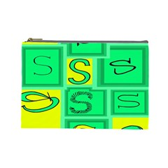 Letter Huruf S Sign Green Yellow Cosmetic Bag (large)