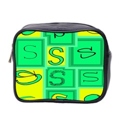 Letter Huruf S Sign Green Yellow Mini Toiletries Bag 2 Side