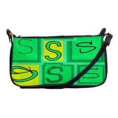Letter Huruf S Sign Green Yellow Shoulder Clutch Bags