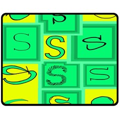 Letter Huruf S Sign Green Yellow Fleece Blanket (medium)