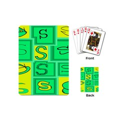 Letter Huruf S Sign Green Yellow Playing Cards (mini)