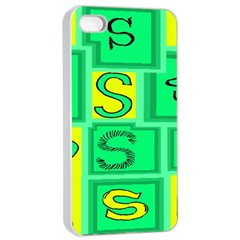 Letter Huruf S Sign Green Yellow Apple Iphone 4/4s Seamless Case (white)