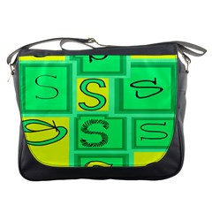Letter Huruf S Sign Green Yellow Messenger Bags