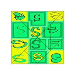 Letter Huruf S Sign Green Yellow Acrylic Tangram Puzzle (4  X 4 )