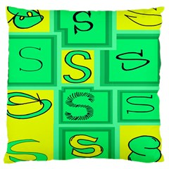 Letter Huruf S Sign Green Yellow Large Cushion Case (one Side)