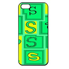 Letter Huruf S Sign Green Yellow Apple Iphone 5 Seamless Case (black)