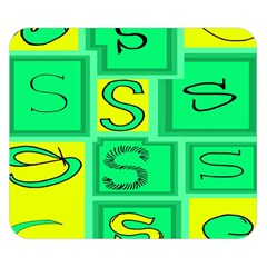 Letter Huruf S Sign Green Yellow Double Sided Flano Blanket (small)