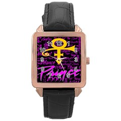 Prince Poster Rose Gold Leather Watch
