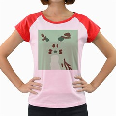 Lineless Background For Minty Wildlife Monster Women s Cap Sleeve T Shirt