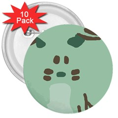 Lineless Background For Minty Wildlife Monster 3  Buttons (10 Pack)