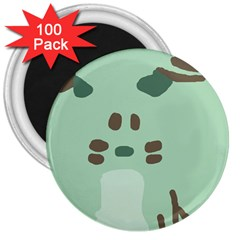 Lineless Background For Minty Wildlife Monster 3  Magnets (100 Pack)