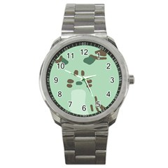 Lineless Background For Minty Wildlife Monster Sport Metal Watch