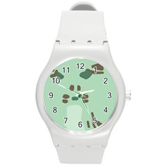 Lineless Background For Minty Wildlife Monster Round Plastic Sport Watch (m)