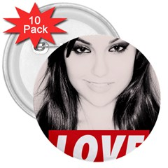 Sasha Grey Love 3  Buttons (10 Pack)