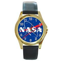 Nasa Logo Round Gold Metal Watch