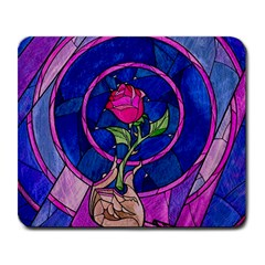 Enchanted Rose Stained Glass Large Mousepads