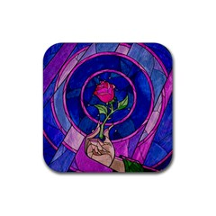 Enchanted Rose Stained Glass Rubber Coaster (square)