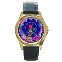 Enchanted Rose Stained Glass Round Gold Metal Watch