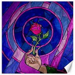 Enchanted Rose Stained Glass Canvas 16  X 16