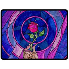 Enchanted Rose Stained Glass Double Sided Fleece Blanket (large)