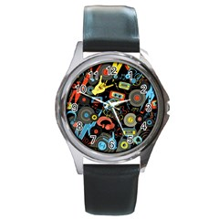 Music Pattern Round Metal Watch