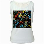 Music Pattern Women s White Tank Top Front