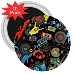 Music Pattern 3  Magnets (10 Pack)