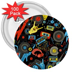 Music Pattern 3  Buttons (100 Pack)
