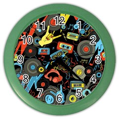 Music Pattern Color Wall Clocks