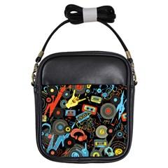 Music Pattern Girls Sling Bags