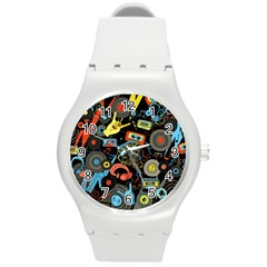 Music Pattern Round Plastic Sport Watch (m)