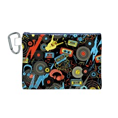 Music Pattern Canvas Cosmetic Bag (m)