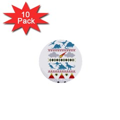 My Grandma Likes Dinosaurs Ugly Holiday Christmas 1  Mini Buttons (10 Pack)