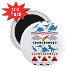 My Grandma Likes Dinosaurs Ugly Holiday Christmas 2 25  Magnets (100 Pack)