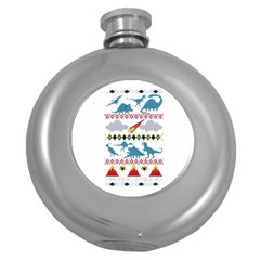 My Grandma Likes Dinosaurs Ugly Holiday Christmas Round Hip Flask (5 Oz)